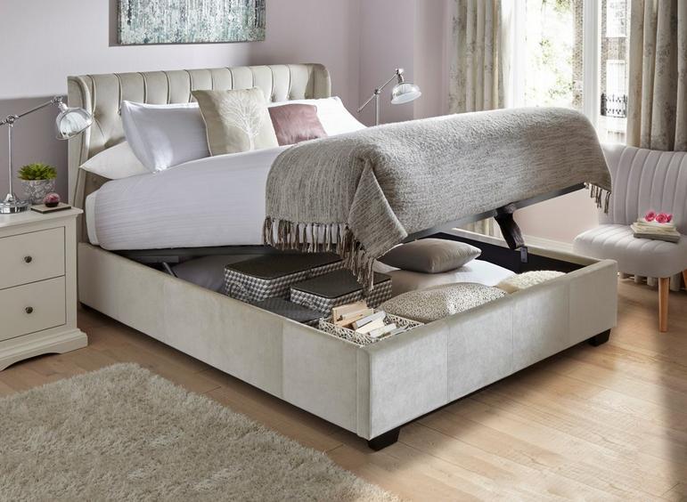 Sana Fabric Upholstered Ottoman Bed Frame