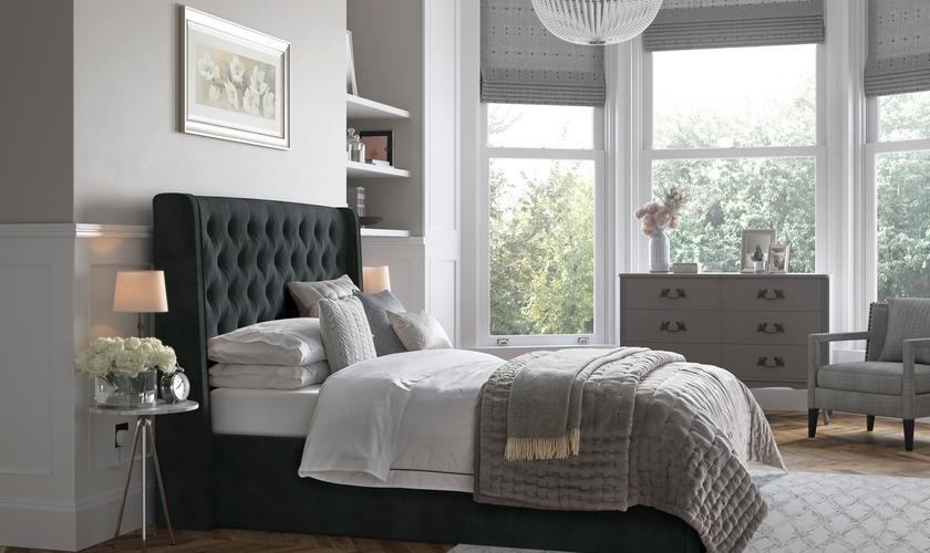 Bedroom space with eco-friendly bedroom lighting