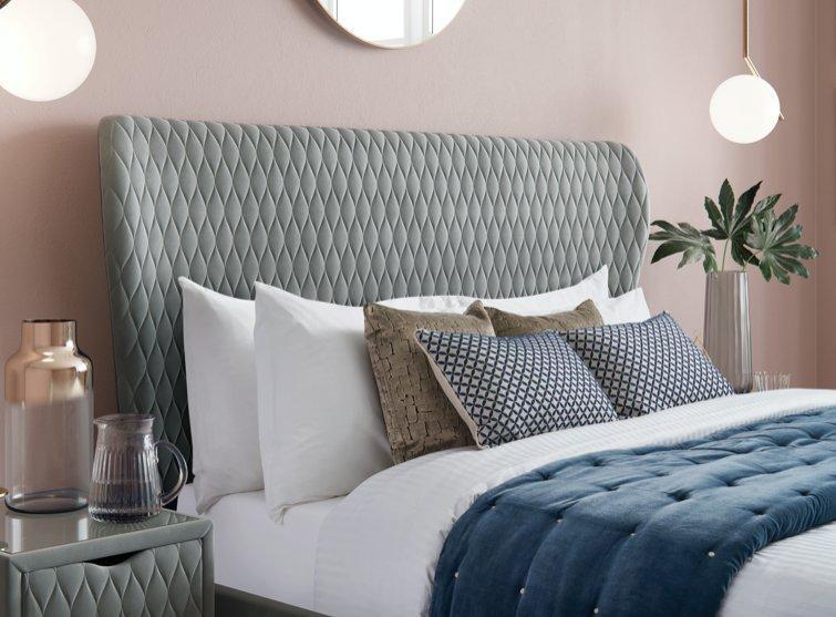 Neva velvet upholstered ottoman bed frame